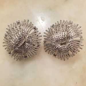 MONET Clip On Silver Starburst Fireworks Earrings